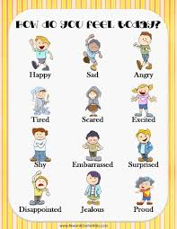Emotions Chart For Kindergarten Free Printable Feelings Chart Instant Download