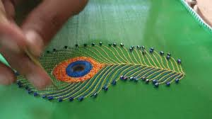 Embroidery Feather Designs Peacock Feather Design Mirror Beads And Thread Stitch