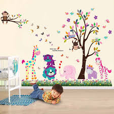 walplus wall stickers happy animals tree butterfly grass removable self adhesive mural art decals vinyl home decoration diy living bedroom office d cor  on wall art childrens bedrooms uk with walplus wall stickers happy animals tree butterfly grass removable