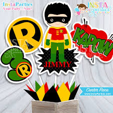Personalized Superheroes Robin Centerpieces Superhero Centerpiece Superheroes