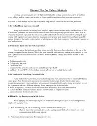 How To Write Resume Collegent Summary Fornts A College Student