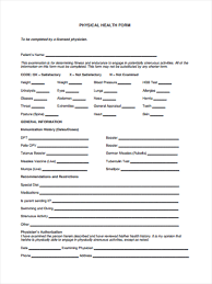 Sample Bsa Medical Form 24 Physical Health Form Sample Free Sample Example Format Download 19