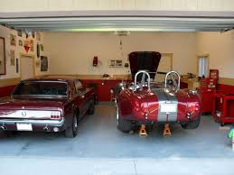 garage wall paintInside Home Garage Classic Car Painted With White And Red Interior
