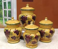 Grapes And Wine Kitchen Decor Picture Of Tuscany Grapes Canisters Kitchen Set
