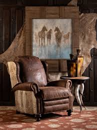 ringo recliner western distressed leather recliner with croc leather accents