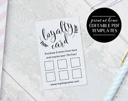 loyalty card template loyalty card templates instant download editable pdf