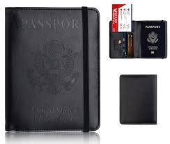 leather passport holder cover leather rfid blocking passport wallet case for men women with elastic band black