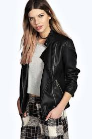 lina quilted faux leather biker jacket