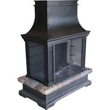 steel and slate wood burning outdoor fireplace
