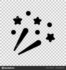 星と花火 お祝いのアイコン 透明な背景に黒いシンボル ストック