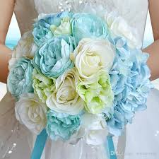 flowers for a beach wedding. 2017 new sky blue beach wedding flowers bouquets bridesmaids artificial silk rose bridal bouquet accessories for a