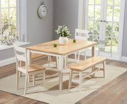 chiltern 150cm oak and cream dining set with benches and chairs