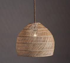 flora dome rattan woven pendant