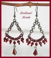 garnet metal chandelier earrings glass bead jewelry canada handmade