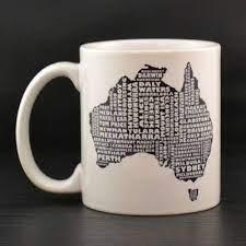 Soak up the sweet aroma of your morning coffee from a personalised mug made at zazzle. Australia Mug Australia Typography Map Custom Coffee Mug