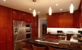 modern cherry kitchen cabinets. Cherry Cabinets With Beautiful Kitchen Table And Lighting Modern