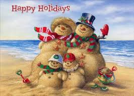 Holidays Snowman Beach Snowman Family 18 Warm Weather Boxed Christmas Cards By Red