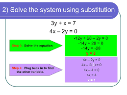 2 solve the system using substitution 3y x 7 4x 2y