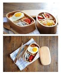 wooden lunch box with lid divided tray eco