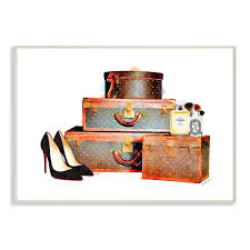 stupell industries 12 5 in x 18 5 in fashion travel luge set with stiakeup by artist amanda greenwood wood wall art agp 162 wd 13x19