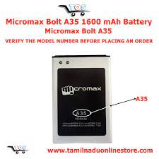 TOS - Micromax Bolt A35 Battery 1500mAh ...
