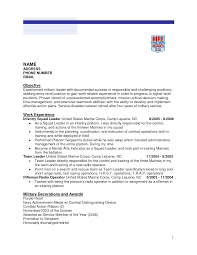 Gallery Of Infantry Resume Free Excel Templates Military To