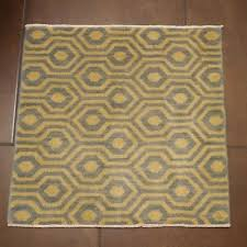 details about small square wool rug designer geometric pattern light blue off white cream 2x2