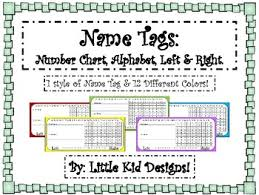 Alphabet And Numbers Chart Name Tags Tags With Letters Numbers