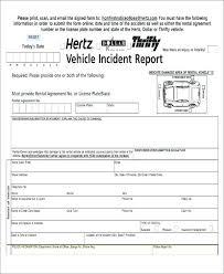 Hertz Rental Car Accident Report Form Free Template Incident Samples