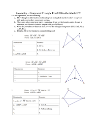 Triangle Proofs Geometry Congruent Triangle Proof Fill In The Blank
