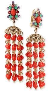 betsey johnson betsey johnson earrings gold tone beaded chandelier clip on earrings chandelier