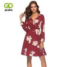 <b>2019 Goplus</b> Boho <b>Floral Print</b> Chiffon Dress Women Sexy V Neck ...