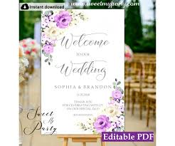 Welcome Purple Purple Ivory Welcome Sign Template Floral Welcome Sign Template 144