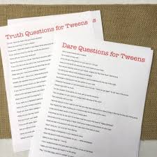 Truth Or Dares 100 Truth Or Dare Questions For Tweens Free Printable Birthday