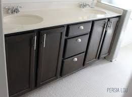 bathroom vanity hardware. Staining And Updating Bathroom Cabinets By Persia Lou - Love The Dark Stain Different Vanity Hardware R