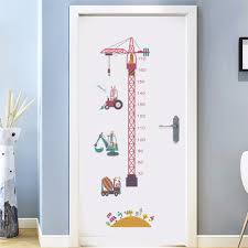 Us 7 98 19 Off Tower Crane Boys Room Wall Decorations Children Height Chart Stickers Bedroom Growth Stadiometers Decal Removable Cartoon Mural In