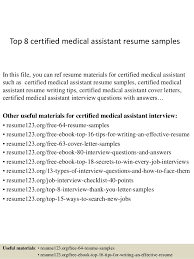 top 8 certified medical assistant resume samples in this file you can ref resume materials medical assistant resume samples
