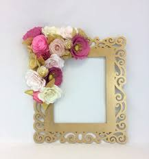 pink and gold flower wall art