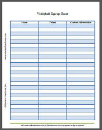 Sign Up Calendar Template Free Printable Volleyball Sign Up Sheet Student Handouts
