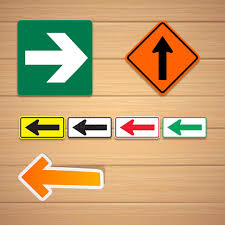 direction arrow labels stickers