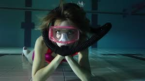 Relaxing Video Female Scuba Diver Relaxing Underwater Stock Footage Video 100