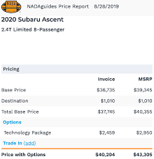 Invoice Price Did Invoice Price On Ascent 2020 Just Go Up By 4 Subaru