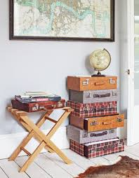 Creative Idea : Interior Design With Brown Vintage Suitcase Drawers Near  Brown Wood Table And Abstract Fluffy Rug Also World Map Wall Decor Vintage  Suitcase ...