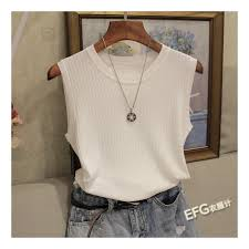 <b>Knitted</b> Vests Women Top O neck Solid Tank Fashion Female ...