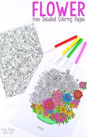 Flower Coloring Pages For Adults Easy Peasy And Fun
