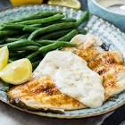 broiled flounder with puffy cheese topping