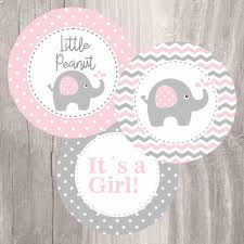 pink elephant baby shower printable centerpieces pink and grey elephant girl baby shower centerpieces instant shower decoration