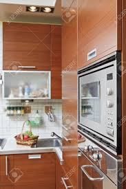 Wooden Furniture For Kitchen Part Of Kitchen Interior With Wooden Furniture And Build In
