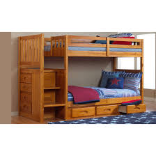 One Honey Twin/Twin Staircase Bunk Bed and One 6 Drawer Entertainment  Dresser