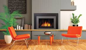 contemporary gas fireplace inserts with chair